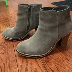 Grey suede ankle boots with wooden heel